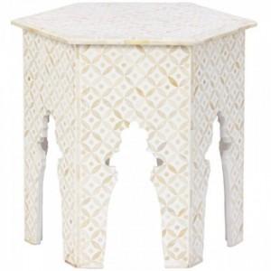 Maaya Bone Inlay Round Side Table Grey White Geometric