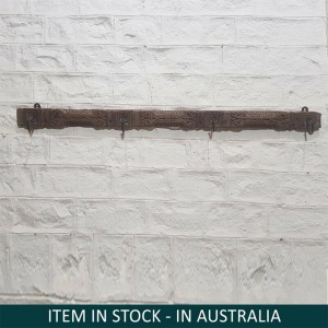 Floral Hand Carved Indian Solid Wood Wall Decor Hanger Natural 159cm