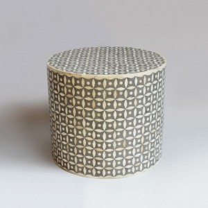 Maaya Bone Inlay Round drum Side Table Grey Geometric