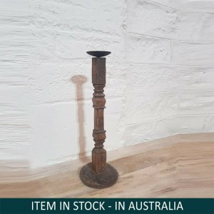 Antique Indian Pillar legs Solid Wood Candel Stand Holder Brown