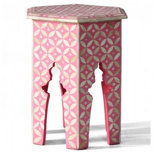 Maaya Bone Inlay Round Side Table Pink White Geometric