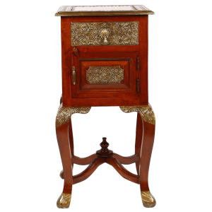 Embossed Antique Brass work Stool With Brass Work