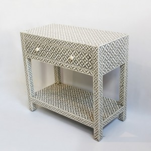 Maaya Bone Inlay Rectangular Side Table Grey Geometric