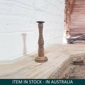 Antique Indian Solid Wood Candle Stand Holder Natural 35 cm