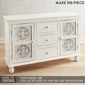 Jali Hand Carved Solid wood Sideboard White 1.4m