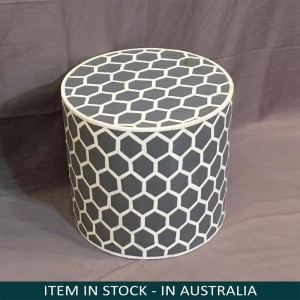 Pandora Hand Painted Indian Solid Wood Honeycomb Design Stool