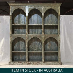 Solid Wood Mughal Indian Hand carved XL Bookshelf storage Green