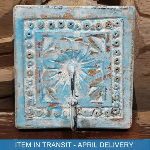 Indian Antique Hand Carved Square Wall Hanger With 1 Hooks Blue 12x10 cm