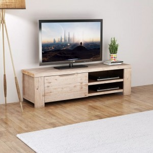 AVALON Solid wood 1Door Tv Unit Whitewash 140cm
