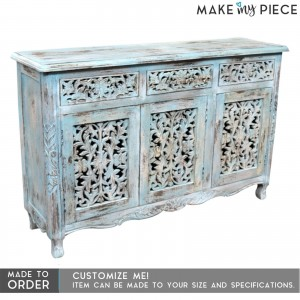 Jali Hand Carved Solid wood sideboard Rustic Blue