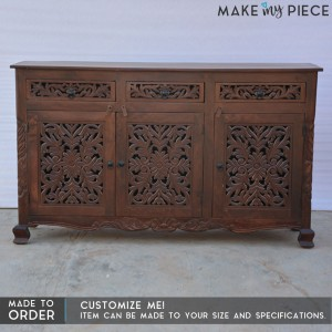 Dynasty Carved jali door solid wood sideboard Brown