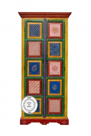 Pandora Hand Painted Indian Color Wardrobe Cabinet