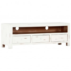 AVALON Solid wood 3DrawerTv Unit Whitewash 120cm