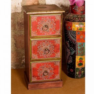 Embossed Antique Brass work Tower Of Drawer Stylish Fusion Of Metal And Hand Painting