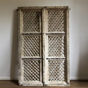 Hand Carved Indian Solid Wood Jali Doors Set White 138cm