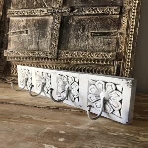 Floral Hand Carved Old Wood Coat Rack Wall Hanger With 4 Hooks 40cm