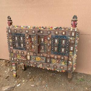 Indian Antique Tribal Hand Carved Art Wood 2en Damchiya Multicolor G