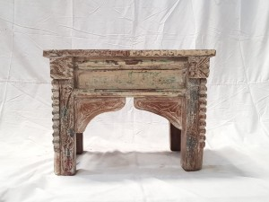 Indian Antique Tribal Hand Carved Art Wooden Console Table Side Table 61x38x46cm