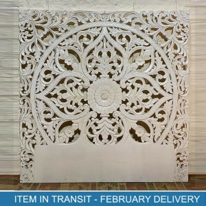 Floral Hand Carved Indian Solid Wood Bed Panel White