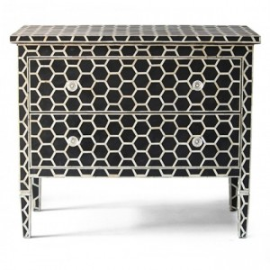 Maaya Bone Inlay Chest sideboard White Honeycomb