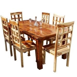 Contemporary 7pc Waffle-Back Dining Room Table Set Honey Brown