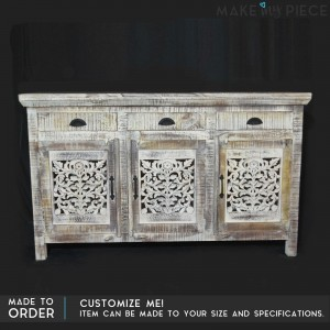 Jali Hand Carved Solid wood Indian french whitewash sideboard