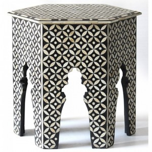 Maaya Bone Inlay Round Side Table Black White Floral