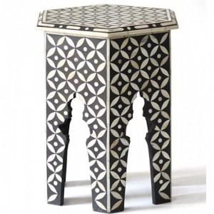 Maaya Bone Inlay Round Side Table Black Geometric