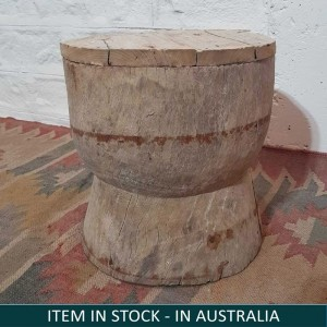 Vintage Indian Solid Wooden Round Stool Natural
