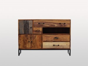 Lava Industrial Indian Solid Wood Buffet Sideboard With 3 Doors And 4 Drawer