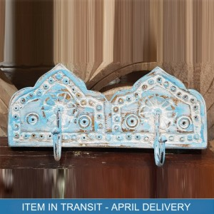 Indian Antique Hand Carved Solid Wood Wooden Double Hook Wall Hanger Blue
