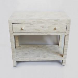 Maaya Bone Inlay White Bedside Table Lamp Table