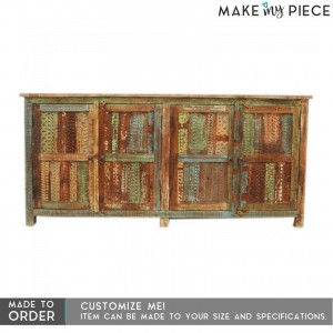 Reclaimed wood Rainbow Carved large Sideboard