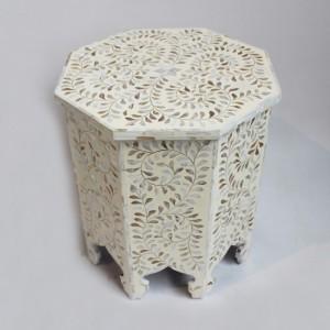Maaya Bone Inlay Round Side Table White Floral