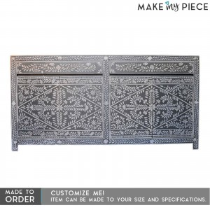 PANDORA Hand Painted Bone Inlay Sideboard Floral Grey Colour