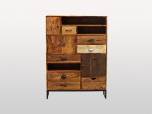 Lava Industrial Indian Solid Wood 10 Drawers Chest Of Drawer