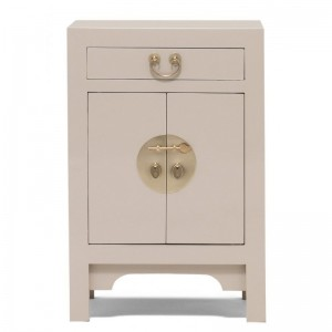 Golden Dragon Oriental Painted Solid Wood Grey Bedside Cabinet 40x35x60cm