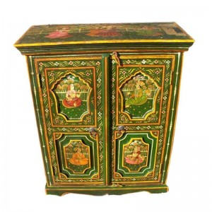 Mughal Hand Painted Indian Solid Wood Small Buffet Cabinet