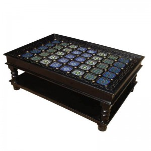 Pandora Pastel Tile Hand Painted Coffee Table Black