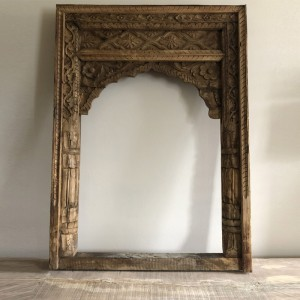 Indian Solid Wood Hand Made Arch Carved Indian Doors Natural 124cm