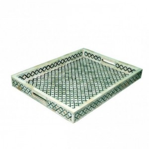 Maaya Bone Inlay Serving Tray - Handmade Designer Green 49x39x5cm