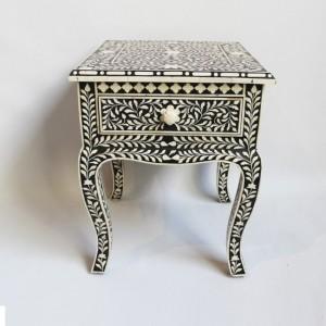 Maaya Bone Inlay Side Table cabinet Lamp table Black Floral