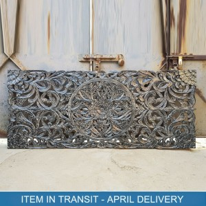 Dynasty Hand Carved Indian Solid Wood Bed Head Panel Black