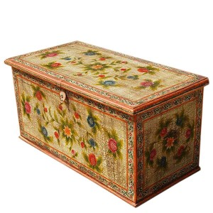 Mughal Hand Painted Indian Solid Wood Storage Trunk Coffee Table White
