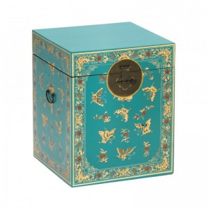 Golden Dragon Oriental Painted Solid Wood Decorated Blue Chest 45x45x50cm