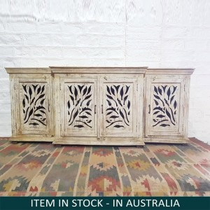French Arched Hand Carved Indian Solid Wood Long Buffet Sideboard