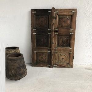 Indian Antique Wooden Hand Carved Doors Set Natural 80cm