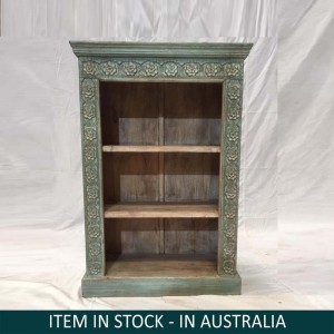 Solid Wood Indian Hand carved Bookshelf storage Rustic GREEN 75x34x107 cm