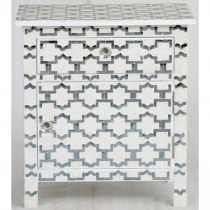 Maaya Bone Inlay Bedside cabinet Lamp table Geometric