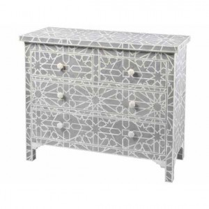 Maaya Bone Inlay Chest Of Drawer Black White Geometric